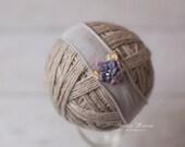 Light Grey Stretch Headband with Purple Silk Flower Photography Prop