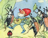 Gnome Plays Mandolin to Bugs Fabric Block - Ida Bohatta Morpurgo