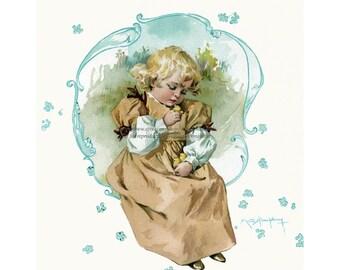 Easter Fabric Block - Maud Humphrey Girl with Chicks