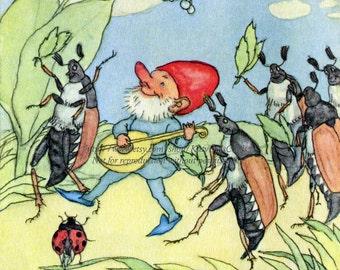 Gnome Plays Mandolin to Bugs Fabric Block - Ida Bohatta Morpurgo