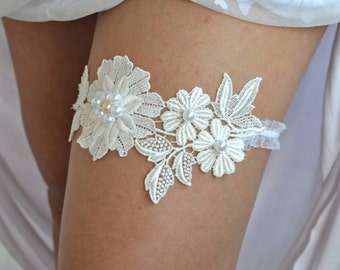 Bridal Garter, Wedding Garter Set, Ivory Lace Garter, Wedding Garters, Handmade Garter, Bridal Garter Set, Ivory  Bridal Garter, Garter Set