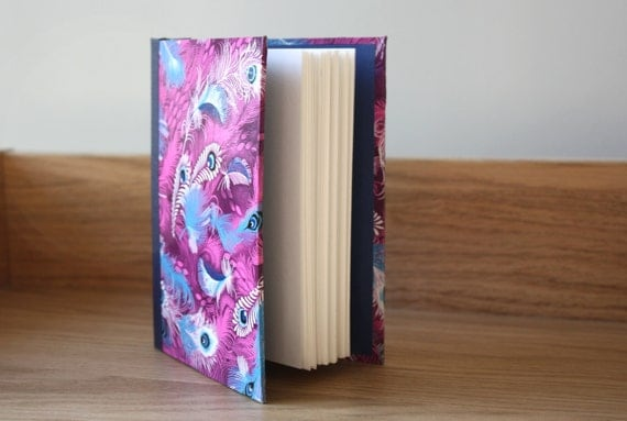 Handmade journal - Peacock feathers