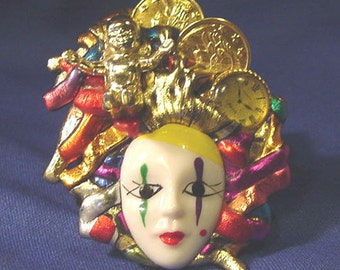 Vintage Hand Crafted Unique ART Pin Signed Gore's & Alo that I Named The Melted Clown at a Lower Even Lower Price.
