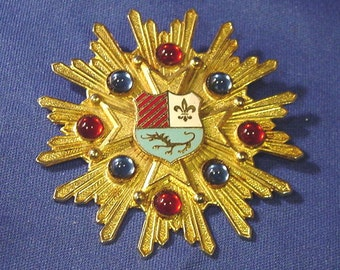 Vintage Gold color/Plate Star type Cross Badge / Pin w/ Red & Blue Cabochon Settings On Special