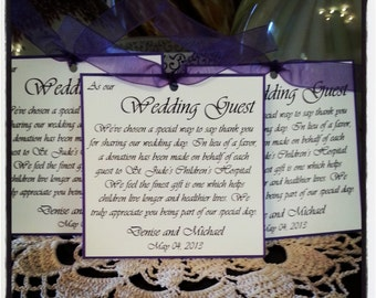 Purple and White Favor/Donation Cards