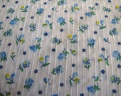 Floral Textured Cotton Vintage Fabric 1970s Blue and White Peter Pan Fabrics - One Yard