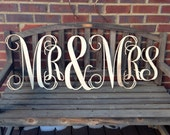 "Mr & Mrs , Wedding Signs, Wedding Decor, Reception Decor, 16"" Wood Signs- UNFINISHED"