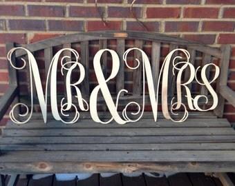 "Wedding Signs, Mr & Mrs , Mr Mrs Signs, Wedding Decor, Reception Decor, 16"" Signs- UNFINISHED"