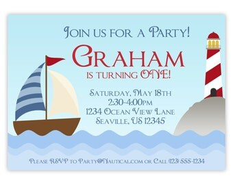 Nautical Invitation - Blue Striped Sail Boat and Red Lighthouse, Nautical Personalized Birthday Party Invite - a Digital Printable File