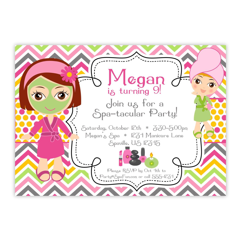 spa party invitation pink orange chevron polka dots, Party invitations