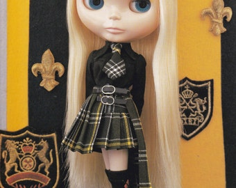 Kenner Neo Blythe 22cm Doll Punk Goth Lolita Blouse, Tartan Pleated Skirt, Tie & Socks set pdf Instructions, Steps and E PATTERN in ENGLISH
