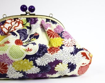Japanese Clutch Bag, Purple Floral Print, Kisslock Frame with Purple Balls