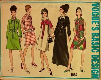 """1960s Shirtdress Shaped Yoke Vogue Basic Design Pattern 1884 Uncut  Size 14  Bust  36"""""""