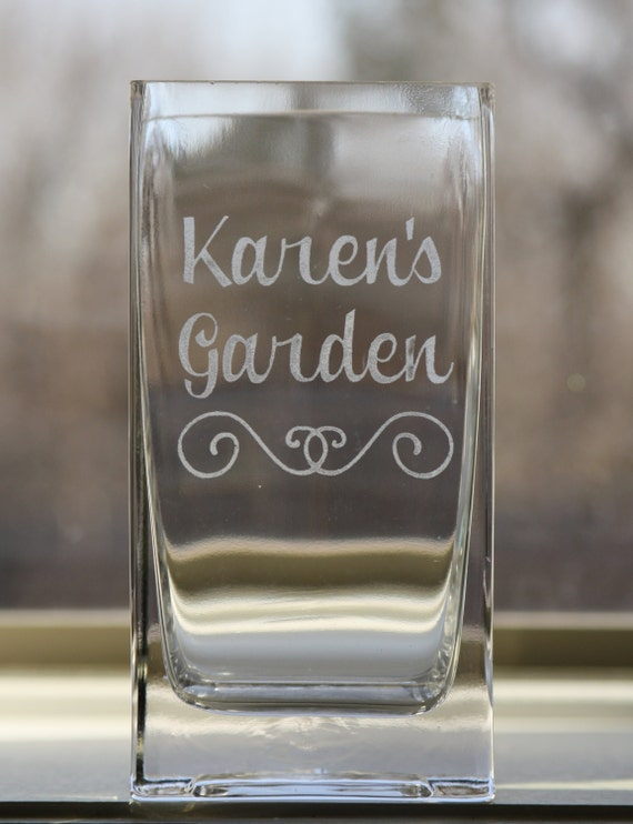 Beautiful Custom Etched Glass Square Vase