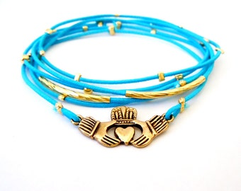Irish Claddagh Gold Bracelet, Blue Bracelet Set, Gold Claddagh Charm, Gold Bracelet, Irish Jewelry