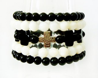 Quartz Cross Bracelet Set, Beaded Bracelet, Stack Bracelet, Christian Bracelets,  Silver Cross Jewelry, Bracelets for Women