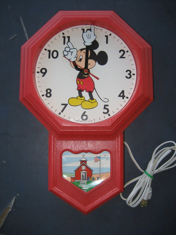 Vintage Mickey Mouse Schoolhouse Electric Wall Clock By Elgin