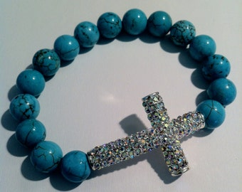 stretch bracelet | blue magnesite beads | Aurora Borealis rhinestone | sideways cross