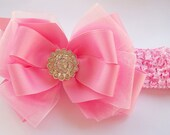 Oh So Pretty Pink Boutique Hair Bow With Rhinestone Center And Headband - Fits all ages baby to Women