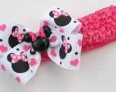 Minnie Boutique Mouse Head Hair Bow Designer Ribbon Pink And White Made On Headband
