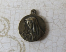Bronze St. Peregrine Medal/Charm, Patron Saint of Cancer Patients, Sorrowful Mother Religious Catholic Medal Pendant