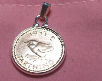 1953 65th Birthday Anniversary Farthing coin in a Silver Plated Pendant mount 64th