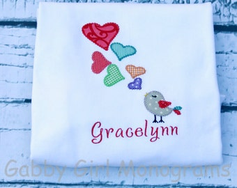 Custom Girls Love Bird Valentine's Day T-Shirt Personalized Applique
