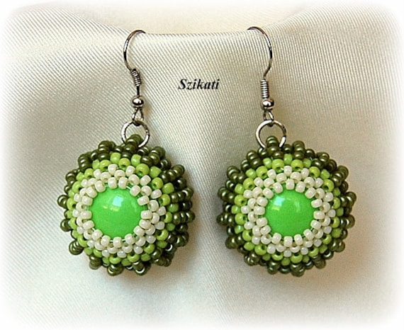 FREE SHIPPING Green Statement Beadwoven Dangle Earrings, Right Angle Weave, Women's Beaded High Fashion Jewelry, Beadwork, Gift for Her OOAK