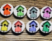 Colorful Bird House Buttons, 3/8 inch, 8 total