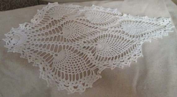 Crocheted Feather Soft White Doily Shabby Chic Victorian