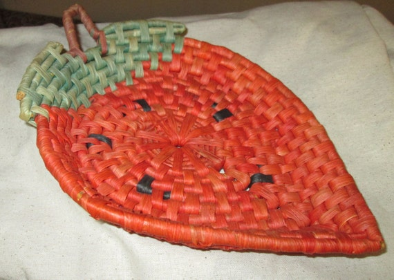 Vintage Strawberry Rattan/Wicker Basket for your Red Kitchen or Shabby Chic Decor