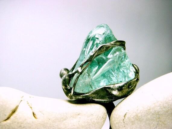 Aqua Ring Raw Aquamarine Ring Raw Gemstone Ring Raw