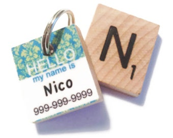 HELLO My Name Is - Blue & Green Damask Scrabble Pet ID Tag - DogTag - Unique Pet Tag