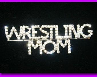 Wrestling Mom Crystal Pin  Wrestling Jewelry