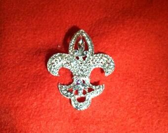 """Bridal Fleur De Lis wedding brooch bouquet pin clear crystal rhinestones 2"""""""