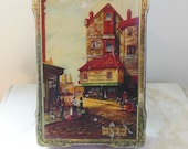 """BRITISH CANDY TIN - Harry Vincent Candy - Beautiful Victorian Scene -  Stamped """"Charles Dickens Old Curiosity Shop""""- Lovely"""