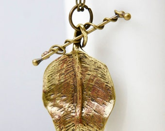 Leaf Necklace, Antique Bronze Plated, Vintage Style, Steampunk Nerdy Jewelry, Birthday Gift, Massive Leaf, Gifts by Giftin For Fifteen OOAK
