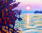 Limited Edition Giclee Canvas Print - Gold Island - 8x10 - Signed Sunset Print Pink Lake Art