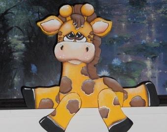 """Cute baby Giraffe woodcraft shelf sitter """"Ginger"""""""