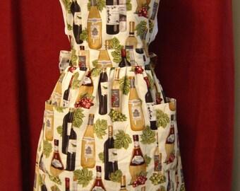 Wine Bottle Motif Bib Style Women's Apron
