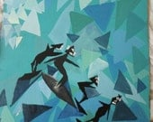 """Abstract Triangle Surfer Blue 26X15"""" original acrylic painting"""