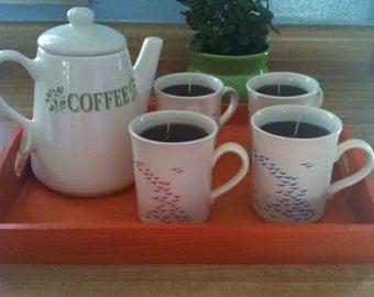 Set of 4 coffee mug candles / votive candles