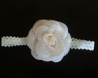 SALE SALE SALE Baby Infant Girl. Baptism Valentine's Day Off White/ Cream Lace Headband