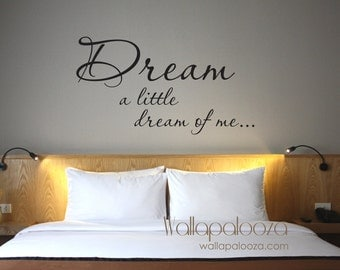 Dream a Little Dream of Me - Wall Decal - Bedroom wall decal - Dream wall decal