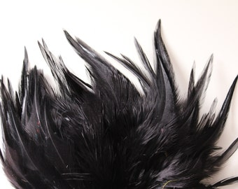 Black Hackle Feather Fringe / 20 loose feathers