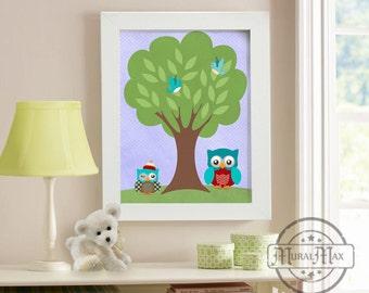 Nursery Decor - Owl Nursery Wall Art - Tree Nursery Wall Art -  Nursery Art - Nursery Room Decor - Kids owl Print,  Blue and Green Nursery