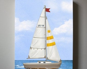Yellow Sailboat Canvas Art, Nursery Art, Baby Nursery Room Decor, Nautical Nursery Canvas
