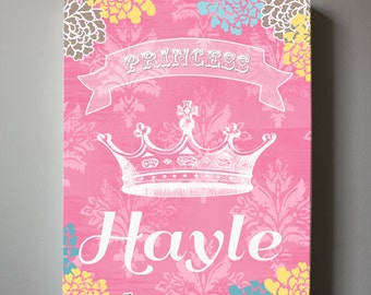 Girls wall art - Princess Canvas Art, Personalized Princess Crown Girls Room Decor , Pink Canvas Reproduction