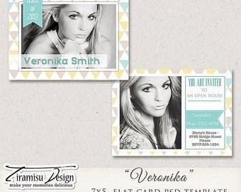 7x5 Senior Graduation Announcement Card Photoshop Template- Veronika, INSTANT DOWNLOAD