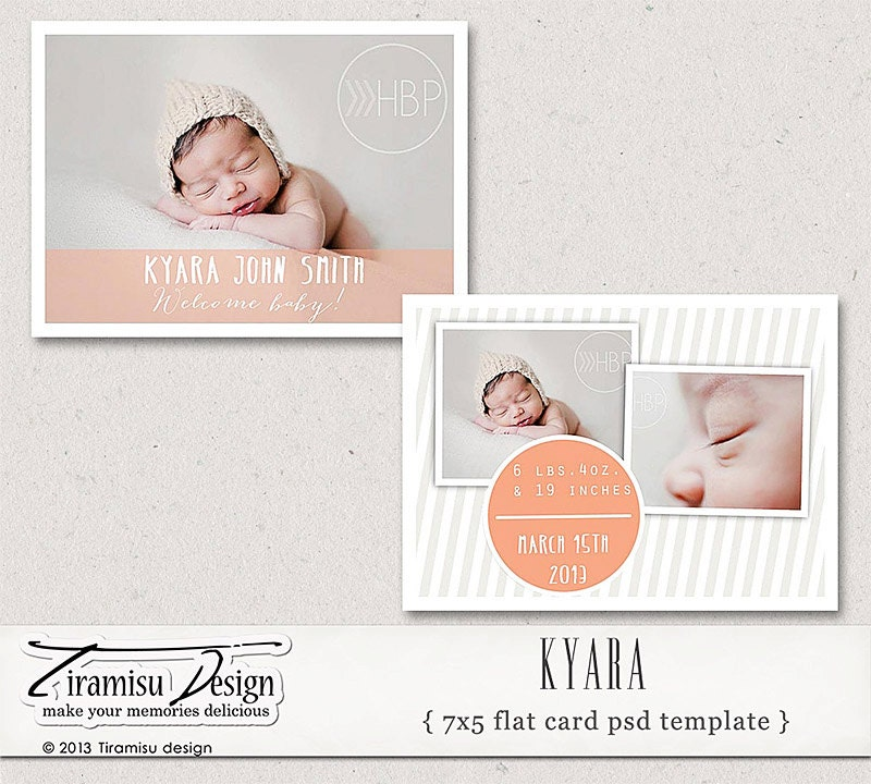 INSTANT DOWNLOAD 7x5 Birth Announcement Card Photoshop